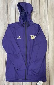 NWT Men's Adidas NCAA Washington Husky Football Game Mode Rain Jacket Coat $160