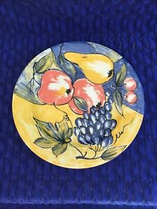 "PIER 1 VIBRANT YELLOW, BLUE & RED 8 1/4"" ITALIAN SALAD PLATES-SOLD INDIVIDUALLY"