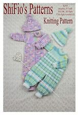 KNITTING PATTERN for BABY BOY GIRL ALL IN ONE & HAT 2 SIZES  #38 NOT CLOTHES