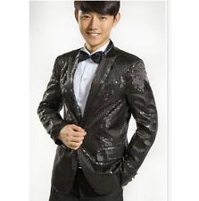 New Men Tuxedo Suit Bling Sequins Jacket One Button Blazer HOT Dance Laped