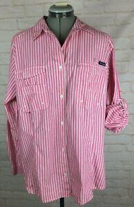 Columbia Women's Super Bonehead Fishing Button PFG Shirt XL Pink White Roll Tab