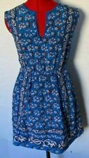 J CREW DRESS VINTAGE SCARF SILK SLEEVELESS V NECK FLORAL PRINTED BLUE SIZE 4P *R