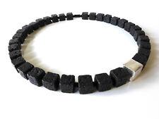 A Sign*Abendstern*Lava-Würfel Halskette/Kette schwarz/silber 45 cm Magnet