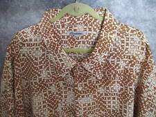 Ossinne Abstract Shirt 4XL Camel Ivory Camp Dressy Casual S/Slv NWOT Fast Ship
