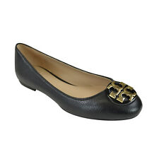 Tory Burch Claire Reva Leather Ballet Flats Black/ Gold 8