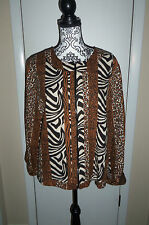 NOTATIONS BLAZER/JACKET Brown, Beige, Black ANIMAL PRINT SIZE LARGE, EUC