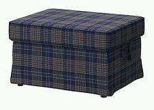 IKEA Ektorp Ottoman Cover Rutna Plaid Footstool(Discnt w/Mate)SlipCover Navy NEW
