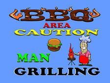 BBQ AREA CAUTION MAN GRILLING  TIN SIGN