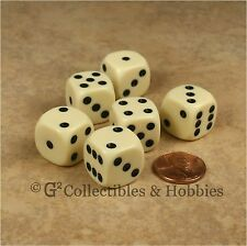 NEW Set of 6 Ivory ROUNDED EDGE Dice Six Sided RPG Bunco Game 16mm 5/8 inch D6