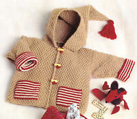 Easy Beginner Baby Jacket with Pockets & Hood DK Knitting Pattern 3 ~ 18 mths