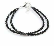 "Black Spinel Baby Bracelet Micro Faceted 2 Mm 5"" Length Children Birthday Gift"