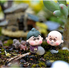 2Pcs Miniature Old Granny Grandpa Christmas Resin Fairy Home Garden Craft H