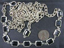 Plastic Beads Belt 40� Modern Silvertone Chain With Black