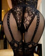 Sexy fishnet lingerie floral bodystocking crotchless bodysuit UK seller