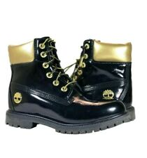 Timberland Women's Jayne Black Boots Midnight Countdown High Shine Leather Size8