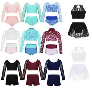 2PCS Kid Girls Floral Lace Ballet Dance Outift Set Gymnastics Dancewear Costume
