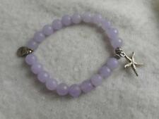 Savvy 8mm faceted round lavendar amethyst bead stretch bracelet w/ starfish