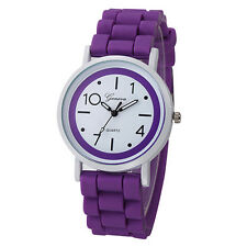 Geneva Dial Purple Silicone Rubber Jelly Womens Casual Sporty Street Wrist Watch