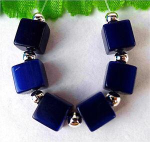 8mm 6Pcs Blue Cat Eye Gemstone Cube Height Hole Pendant Bead BT85219
