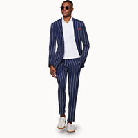 Striped Business Mens Suits Slim Fit Coats Wedding Tuxedos Groom Tailored Summer