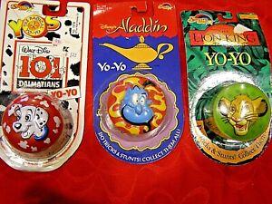3 Disney yoyos - Aladdin, Lion King, 101 Dalmatians - Spectra Star- 1990's yo yo
