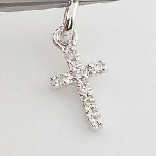 Solid 14K White Gold  Diamond Petite Cross Charm Necklace Pendant