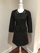 Blumarine black and gold embellished tweed dress suit.