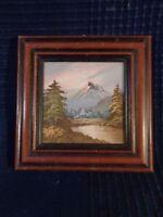Pittura IN Miniatura E il Suo Cornice Decorazione Paesaggio Da A Mano Vintage