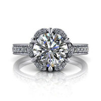 1.90 Ct Round Cut Bridal Diamond Engagement Wedding Ring 14K White Gold Rings