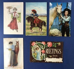 5 Pretty Ladies Greetings Antique Postcards. Ladies with Horses.  Nice w Value
