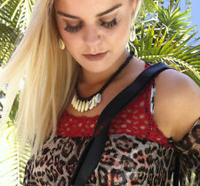 Choker Cowrie Shell Necklace Pendant Black Adjustable Surf jewelry BoHo Aust
