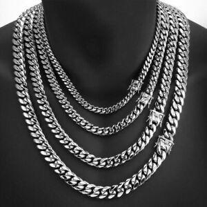 Mens Heavy Miami Cuban Link Bracelet Chain Silver Stainless Steel 8mm-14mm
