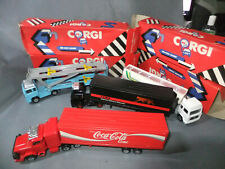 4 x Corgi 1:72 Scale Trucks: Tanker Car Transporter and Container Trucks Boxed