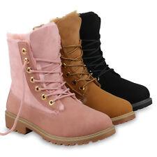 Damen Stiefeletten Worker Boots Warm Gefütterte Stiefel Outdoor 820407 Schuhe