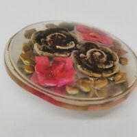Vintage 1940s Reverse Carved Lucite Clear Bouquet Floral Brooch Pin Forties