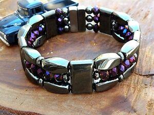 Men's Woman's Magnetic Hematite Bracelet Anklet Necklace 3 row w Metallic Purple