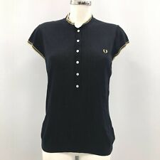 Fred Perry Amy Winehouse Polo Top Womens Size UK 16 Navy Blue Silk Cotton 291817