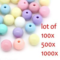 1000PCs Candy Color Acrylic Spacer Beads Jewelry Making Round Ball Mixed 8mm