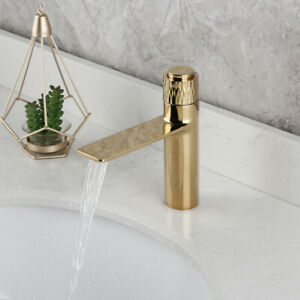 Luxury Gold Bathroom Press 6.8 Inch Faucet Deck Mounted Mixer Simple Taps