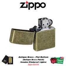 Zippo Antique Brass Lighter, Reg Flat Bottom, USA Genuine Windproof #201FB