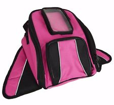 Vance Leather Magnetic Tank Bag with Reflective Piping - Pink