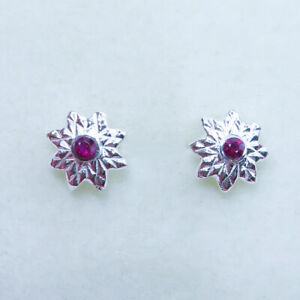 Natural Red Ruby 925 Silver 9ct 14k 18k yellow white rose Gold stud earrings