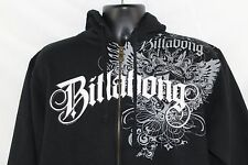 Billabong XL Solid Black Skater Graphic Design Crest Full Zip Sweatshirt Hoodie