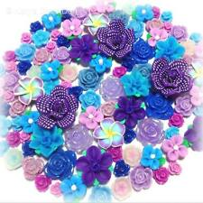 20 Pcs 10mm-30mm 'Forget Me Not' Purple Blue Resin/Clay Flower Cabochons Decoden