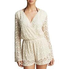 16e4bc2b10 Surf Gypsy 6163 Womens Ivory Crochet Long Sleeves Romper Swim Cover-up L  BHFO