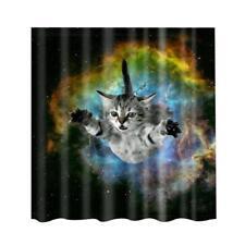 Shower Curtain -Cat & Sky- Bathroom Polyester Panel Drapes + 12 Hooks BATH