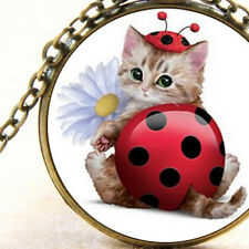 New Cute Kitten Dressed as Ladybug Pendant Necklace, Adorable Cat Lovers Fashion