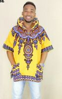 Yellow Hipster Hip Hop African Dashiki Fabric Elongated longline Hoodie TShirt