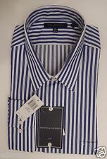 GENUINE TOMMY HILFIGER  SIZE 17 1/2 36/37 TALL BLUE WHITE 100% COTTON SHIRT NWT