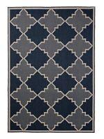 """5'3""""x7'6"""" Navy Trellis Diamond, Moroccan Indoor Outdoor Area Rug - 1095"""